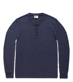 Vintage Industry triko Shoreline long sleeve henley shirt tmavomodré