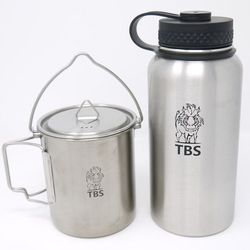 TBS nerez set - hrnek  a láhev na vodu - dvoustěnná