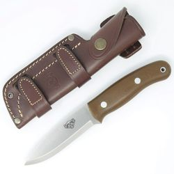 TBS Wolverin Bushcraft nůž - N695 Stainless Steel & hnědá G10