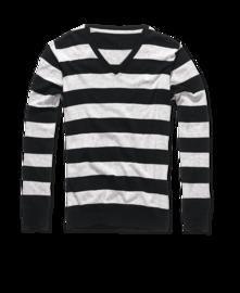 Brandit London V-Neck černo/šedý pruh