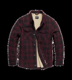 Košile zateplená Craft HeavyWeight  Sherpa kostkovaná Vintage industries - burgundy