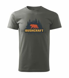 Tričko Bushcraft medvěd - khaki šedá
